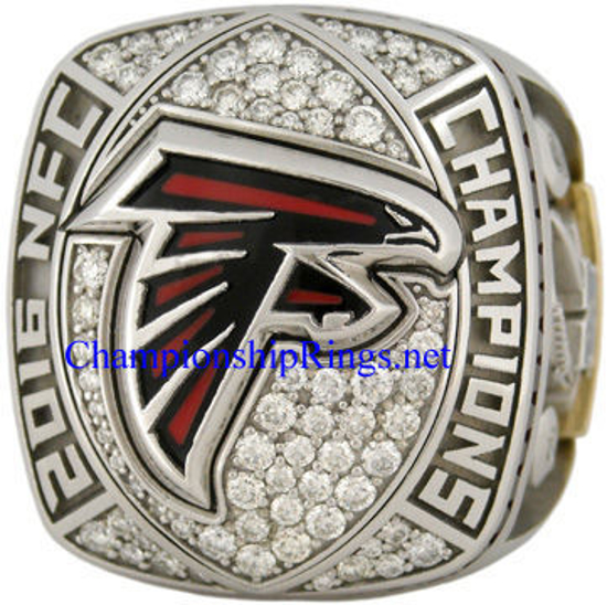 """Picture of 2016 Atlanta Falcons """"N.F.C."""" Champions 10K White Gold, with Diamonds, Player's Ring and Original Presentation Box"""