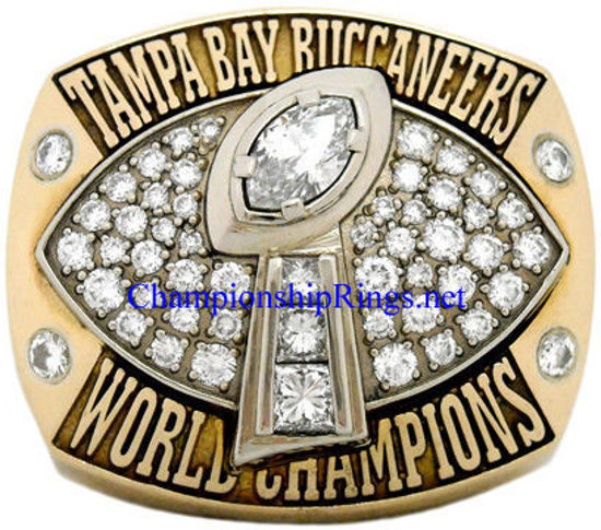 """Picture of 2002 Tampa Bay Buccaneers """"Super Bowl XXXVII"""" Champions 14K Gold, with Diamonds, Player's Ring"""