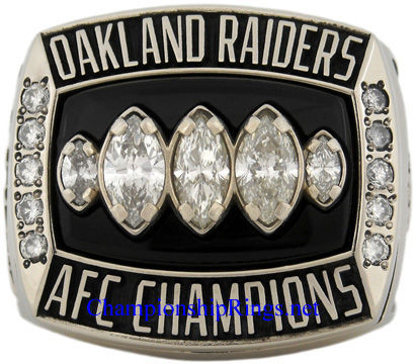 "Picture of 2002 Oakland Raiders ""A.F.C."" Champions 14K White Gold, with Diamonds, Player's Ring and Original Wood Presentation Box"
