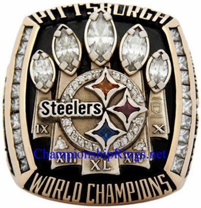 """Picture of 2005 Pittsburgh Steelers """"Super Bowl XL"""" Champions 14K Gold, with Diamonds, Player's Ring"""
