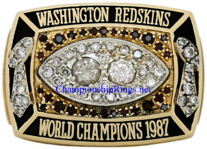 "Picture of 1987 Washington Redskins ""Super Bowl XXII"" Champions 10K Gold, with Diamonds and Rubies, *STARTING* Player's Ring and Original Presentation Box"