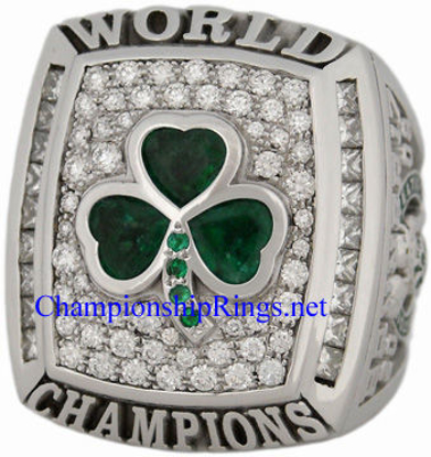 "Picture of 2008 Boston Celtics ""N.B.A. World Champions"" 14K White Gold, with Diamonds and Emeralds, Staff Member's Ring and Original Presentation Box"