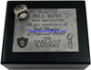 """Picture of Bill King's 1976 Oakland Raiders """"Super Bowl XI"""" Champions 14K White Gold, with Diamonds, Team Broadcaster's Ring and Original Wood Presentation Box"""