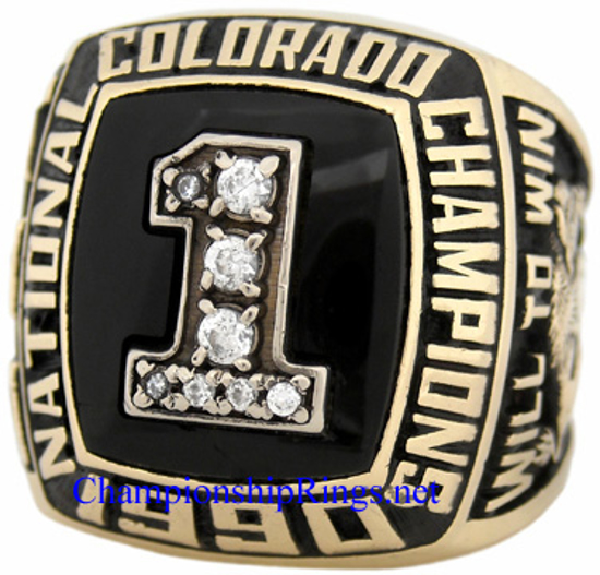 """Picture of 1990 Colorado Buffaloes """"National Champions"""" 10K Gold, with C.Z.s, Football Player's Ring"""